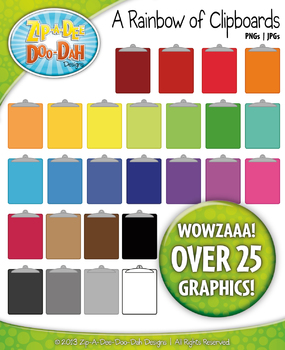 A Rainbow of Clipboards Clipart — Over 25 Graphics!