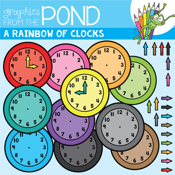 A Rainbow of Clocks Clipart Set