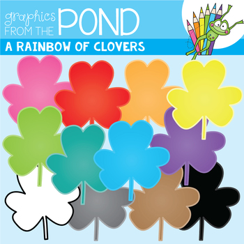 A Rainbow of Clovers Clipart Set