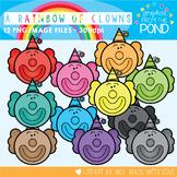 A Rainbow of Clown Faces Clipart Set