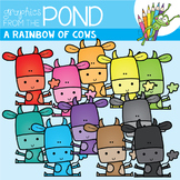 A Rainbow of Cows Clipart Set