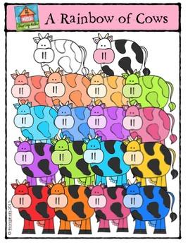 A Rainbow of Cows {P4 Clips Trioriginals Digital Clip Art}