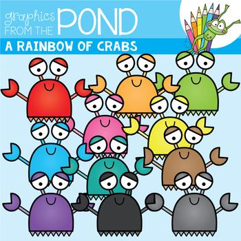 A Rainbow of Crabs Clipart Set
