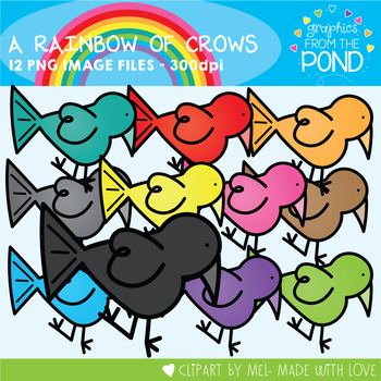 A Rainbow of Crows Clipart Set