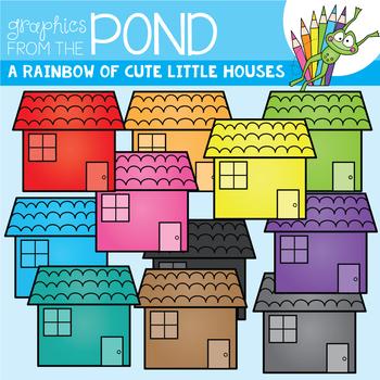 A Rainbow of Cute Little Houses Clipart Set