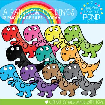 A Rainbow of Dinosaurs Clipart Set