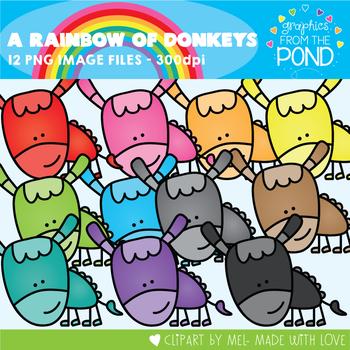 A Rainbow of Donkeys Clipart Set