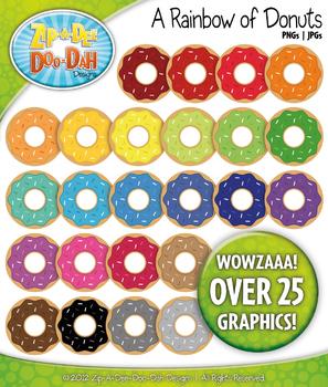 Rainbow Donuts Clipart {Zip-A-Dee-Doo-Dah Designs}