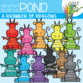 A Rainbow of Dragons Clipart Set