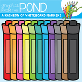 A Rainbow of Dry Erase / Whiteboard Markers Clipart Set