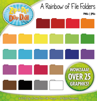 A Rainbow of File Folders Clipart — Over 25 Graphics!