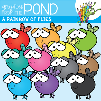 A Rainbow of Flies Clipart Set