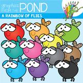 A Rainbow of Flies Clipart Set