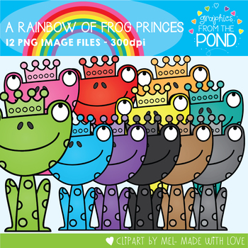 A Rainbow of Frog Princes Clipart Set
