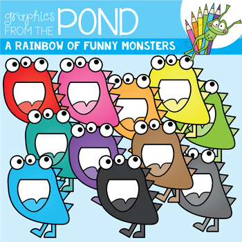 A Rainbow of Funny Monsters Clipart Set
