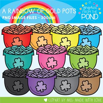 A Rainbow of Gold Pots Clipart Set