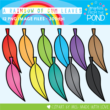 A Rainbow of Gum Leaves Clipart Set