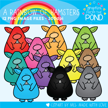 A Rainbow of Hamsters Clipart Set