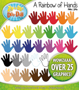A Rainbow of Hands Clipart — Over 25 Graphics!