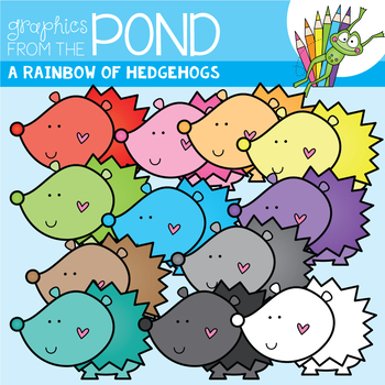 A Rainbow of Hedgehogs Clipart Set