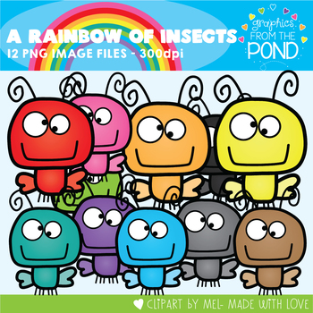 A Rainbow of Insects Clipart Set