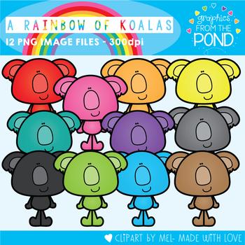 A Rainbow of Koalas Clipart Set