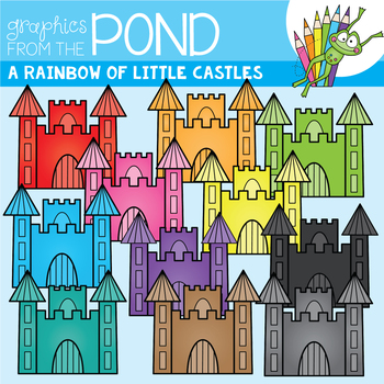 A Rainbow of Little Castles Clipart Set