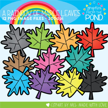 A Rainbow of Maple Leaves Clipart Set
