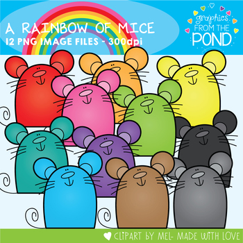 A Rainbow of Mice Clipart Set