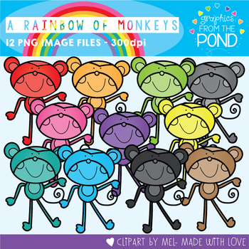 A Rainbow of Monkeys Clipart Set