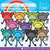 A Rainbow of Monkeys Clipart Set
