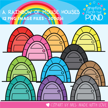 A Rainbow of Mouse Houses  Clipart Set