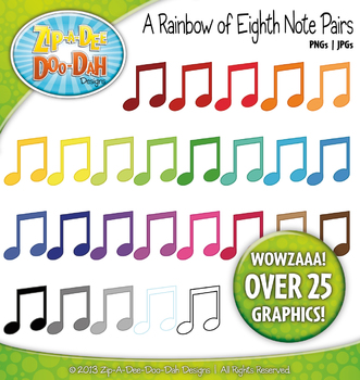 A Rainbow of Music Eighth Notes Pair or Quaver Pair Clipart — Over 25 Graphics!