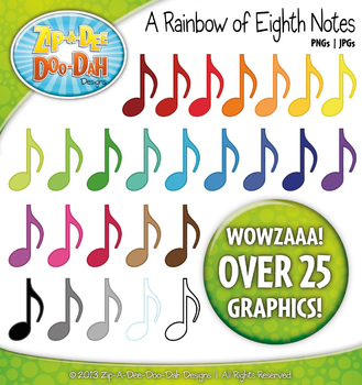 A Rainbow of Music Eighth or Quaver Notes Clipart — Over 25 Graphics!