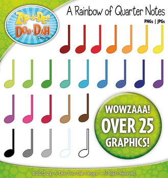 A Rainbow of Music Quarter or Crotchet Notes Clipart — Over 25 Graphics!