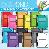 A Rainbow of Notebooks Clipart Set