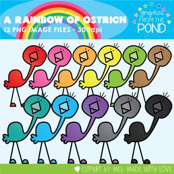 A Rainbow of Ostrich Clipart Set