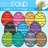 A Rainbow of Patterned Eggs Clipart Set