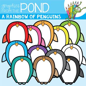 A Rainbow of Penguins Clipart Set