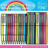 A Rainbow of Pens Clipart Set