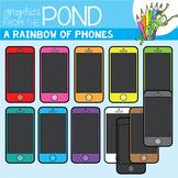 A Rainbow of Phones Clipart Set