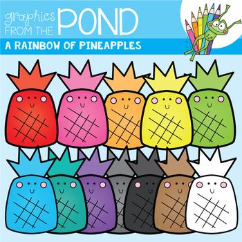 A Rainbow of Pineapple Clipart Set