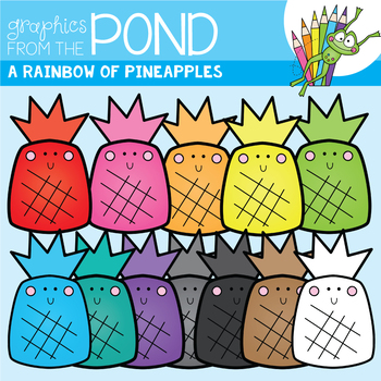 A Rainbow of Pineapple Clipart Set