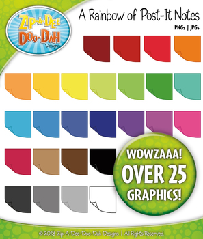 {FREE} A Rainbow of Post-It Sticky Notes Clipart — Over 25