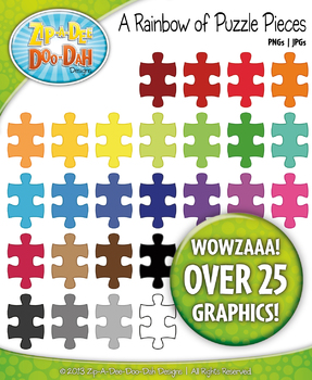 A Rainbow of Puzzle Pieces Clipart — Over 25 Graphics!