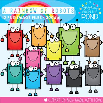 A Rainbow of Robots Clipart Set