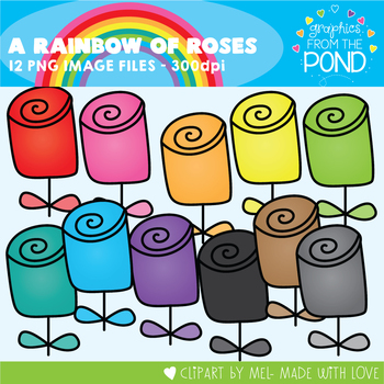 A Rainbow of Roses Clipart Set