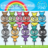 A Rainbow of Scarecrows Clipart Set