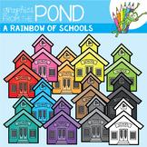 A Rainbow of Schools Clipart Set