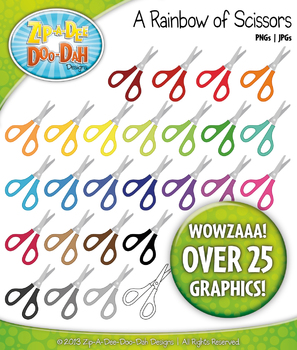 A Rainbow of Scissors Clipart — Over 25 Graphics!